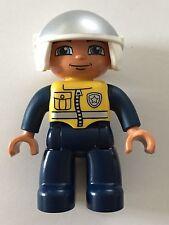 *NEW* Lego DUPLO Male POLICE DARK BLUE Legs JUMPSUIT YELLOW Vest WHITE Helmet