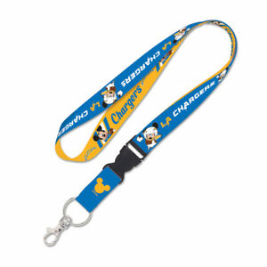 """LOS ANGELES CHARGERS MICKEY MOUSE LANYARD KEYCHAIN W/ DETACH BUCKLE 1"""" W 22"""" L"""