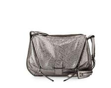 Kooba LEROY Metallic Leather Shoulder Crossbody ~GUNMETAL SILVER ~$448 ~NWT!