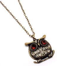 Rhinestone OWL pendant necklace chunky amber eyes figural animal jewelry new