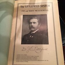 """BOOK """"THE LITTLEFIELD SYSTEM"""" EYE AND NERVE MEASUREMENTS """"1905"""""""