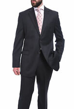 Mens 42L Bruno Piattelli Classic Fit Charcoal Gray Pinstriped Two Button Wool...