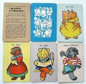 VINTAGE PLAYING CARDS CARD GAME ANIMAL HAPPY FAMILIES 1940s 36 CARDS RULES BOX