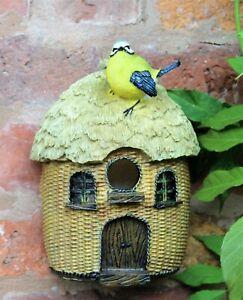 GARDEN ORNAMENT NESTING BIRD BOX NEST HOUSE SMALL BIRDS BLUE TIT