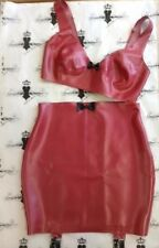 """R1651/X0226 Rubber Latex BRA/SKIRT SUSPENDERS 34""""/8 PS Red with Black"""