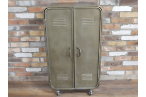 Industrial All Metal Wheeled Two Door Storage Cabinet - 2 shelf 3 Compartment