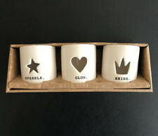 Rae Dunn By Magenta Sparkle Glow Shine 3 Votive Candle Holders Star Crown Heart