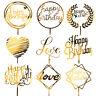 Gold Acrylic Cake Topper Glitter Happy Birthday Baby Shower Love Heart Decor New