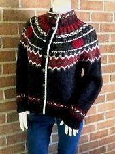 Vintage HTF WOOLRICH Mohair Fair Isle Roses Yoke Cardigan Sweater Wool/Mohair M