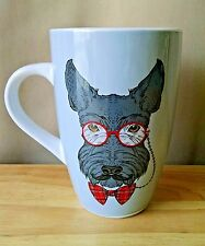 Whimsical Scottish Terrier Scottie Dog Red Glasses Mustache Bow Tie Coffee Mug
