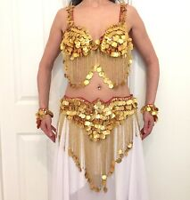 RED & GOLD COIN BELLYDANCE COSTUME Was £500! BRA & BELT SIZE UK 4-10 INDIAN