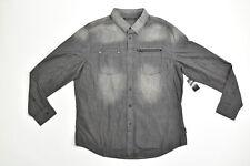 Men's Sean John Button Down/ Button Up Regular 3XL Gray Solid Long Sleeve Cotton