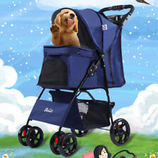 Pet Cart Breathable Cat Dog Cage Carrier Bag Shopping Stroller Rain Cover 33lbs