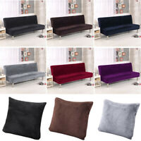 Plush Folding Armless Sofa Bed Cover Seat Protector Velvet Futon Couch Slipcover