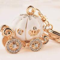 Lovely Cute Key Ring Pumpkin Carriage Keychain Keyfob Crystal Charm