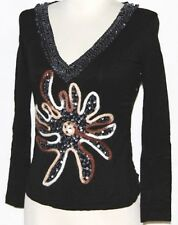 S Black Gothic Gypsy Hippie Steam Punk Goth Boho Festival Embroidered Beaded Top