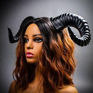 BLACK Adult Party Costume Devil Fairy Horns Headband RAM Animal Horn Cosplay