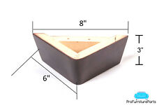 "ProFurnitureParts 3"" Dark Walnut Triangle Corner Wood Sofa Legs With Screws"