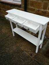 H80 W100 D30cm BESPOKE WHITE CONSOLE HALL TELEPHONE TABLE 3 DRAWER CHUNKY