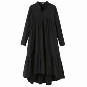 New Stand Collar Sleeve Black Solid Color Long Irregular Women's Fashion Dresses