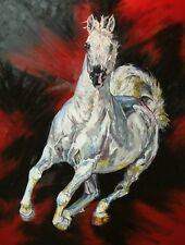 Red Arabian pony wild horse racing limited edition print art rodeo
