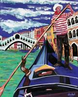 ROMANTIC VENICE GONDOLA ORIGINAL Art PAINTING DAN BYL Modern Contemporary 4x5ft