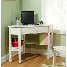 Corner Computer Desk Laptop Writing Homework Study Dorm Teen Girl Bedroom White