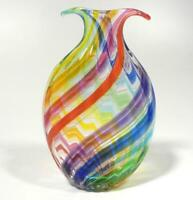HAND BLOWN GLASS SCULPTURE/VASE, DIRWOOD, RAINBOW RED BLUE AQUA PURPLE GREEN