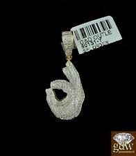 Real 10k Yellow Gold and Real Diamond Ok Hand Emoji Charm/Pendant with Men,Angel