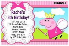 1 x PEPPA PIG GIRLS BIRTHDAY PERSONALISED INVITATIONS INVITES + FREE MAGNETS