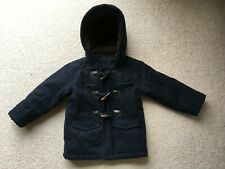 Age 3 John Lewis Boys Navy Wool Duffle Coat With Toggles, Fur Lined