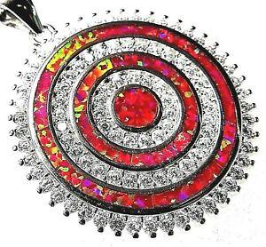 "Red Lab Fire Opal & White Topaz BIG CIRCLES Silver 925 SF Pendant 1.25"""