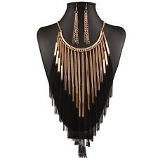 Boho Ethnic Women Black Gold Metal Chain Tassel Pendant Choker Bib Necklace Gift