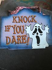 "Halloween Metal Sign. ""Knock If You Dare."""