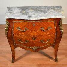 1900 Antique JB Van French Louis XV Walnut inlaid Marble top Commode Nightstand