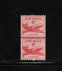 MNH 1949 US 6 c Airmail USA Stamps Air Mail Coil Line Pair Scott# C41 CV $14.00