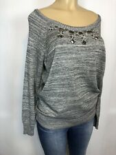 Torrid Grey Stretch Beaded Sweater Womens Size 00 (M/L) Pull Over Sweatshirt $64