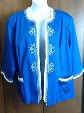 Bob Mackie 3X Wearable Art Royal Blue 3/4 Sleeves Embroidered Jacket