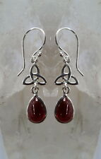 439 Garnet Triquetra Solid 925 Sterling Silver earrings rrp$49.95