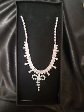Diamante pink bow necklace