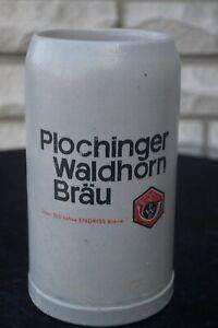 Schöner,älterer Bierkrug/Maßkrug von Plochinger Waldhorn Bräu 1 L -227