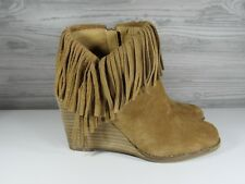 Lucky Brand Yachin Honey Oiled Suede Fringe Ankle Wedge Boot Size US 5.5 Medium