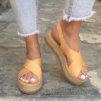 Womens Platform Espadrilles Sandals Ladies Slingback Summer Casual Shoes Sizes 9