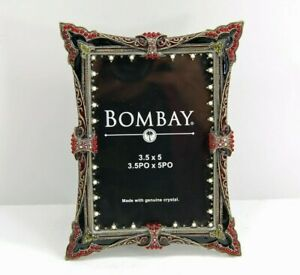 Vintage Bombay Company Black Enamel Pearl Crystal Red Jeweled Picture Frame