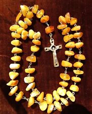 Natural Butterscotch Raw Baltic Amber Necklace/ Rosary with Goldtone metal Cross