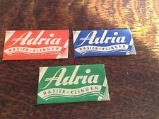 VINTAGE RAZOR BLADES & WRAPPERS 'ADRIA' 3 DIFFERENT