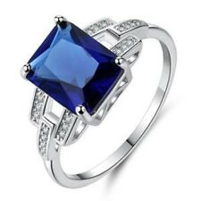 "GORGEOUS SAPPHIRE/WHITE TOPAZ RING UK Size ""L"" US 6"