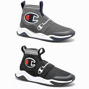 2021 New Mens Champion Rally Pro Lifestyle High Top Shoes Black Grey