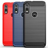 Shockproof Ultra Slim Carbon Fiber TPU Case Cover For Motorola Moto E (2020)