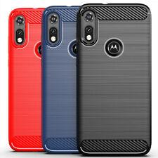 For Motorola Moto E 2020 Shockproof Carbon Fiber Soft TPU Back Phone Case Cover
